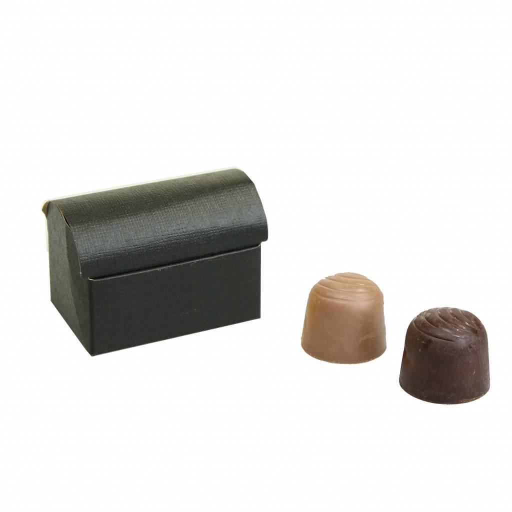 Mini schatkistje voor 2 bonbons  reliëf - Zwart - 70 * 45 * 50mm - 200 stuks