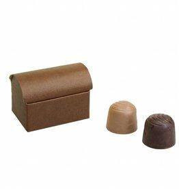 Mini schatkistje voor 2 bonbons reliëf - Bruin