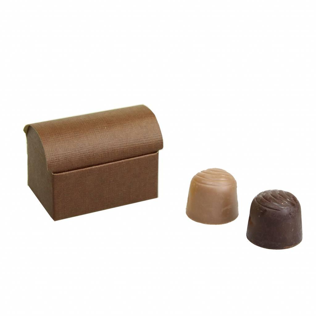 Mini Schatzkiste für 2 Pralinen reliëf - Braun - 70 * 45 * 50mm  - 200 Stück