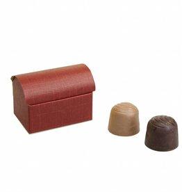 Mini treasure chest for 2 chocolates reliëf - Bordeaux