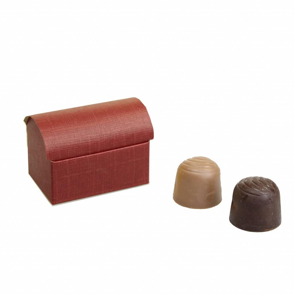 Mini treasure chest for 2 chocolates reliëf - Bordeaux -70 * 45 * 50mm  - 200 pieces