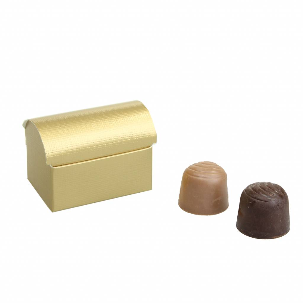 Mini baúl del tesoro por 2 bombones  reliëf- oro - 70 * 45 * 50mm  - 200 unidades
