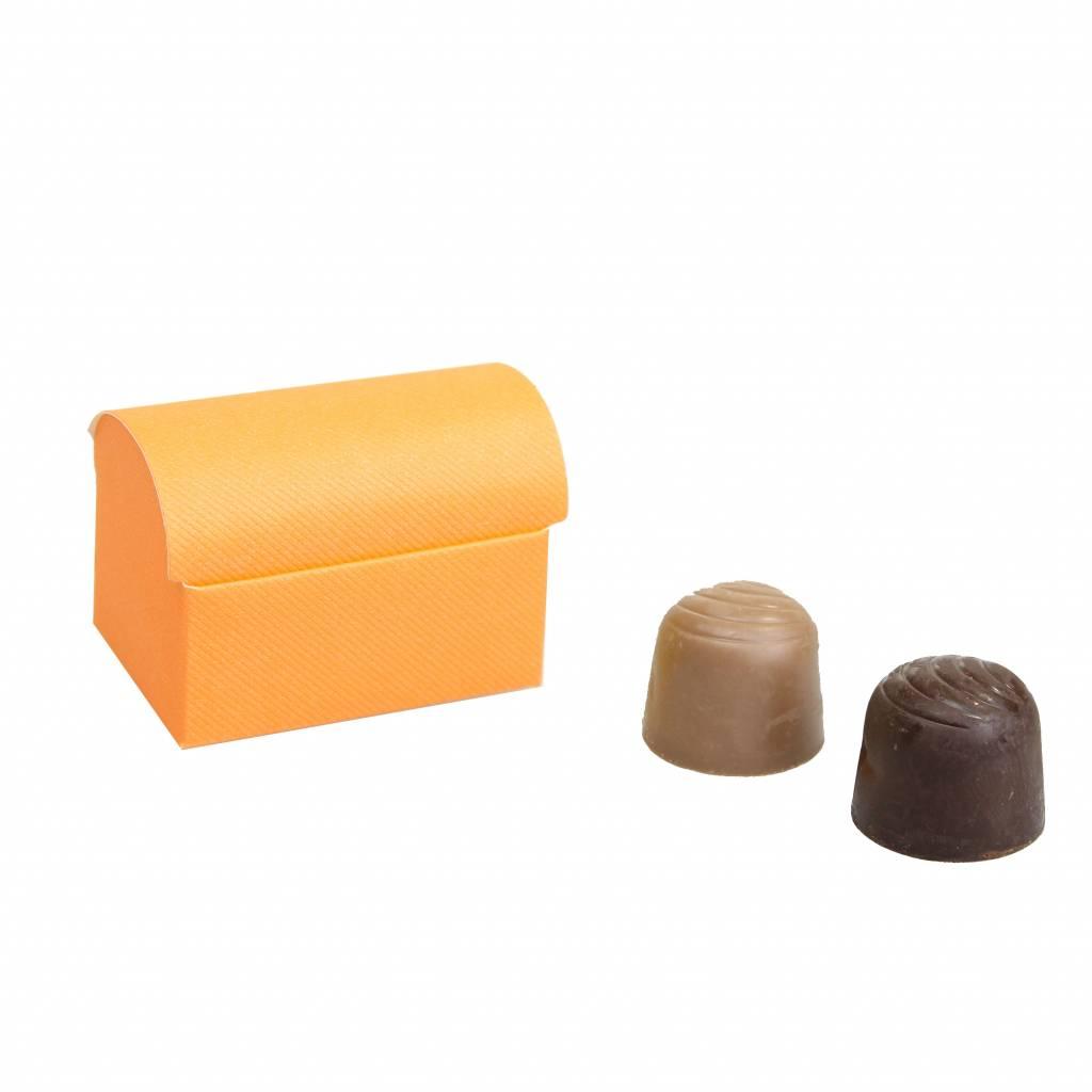 Mini schatkistje voor 2 bonbons  reliëf - Oranje - 70 * 45 * 50mm - 200 stuks