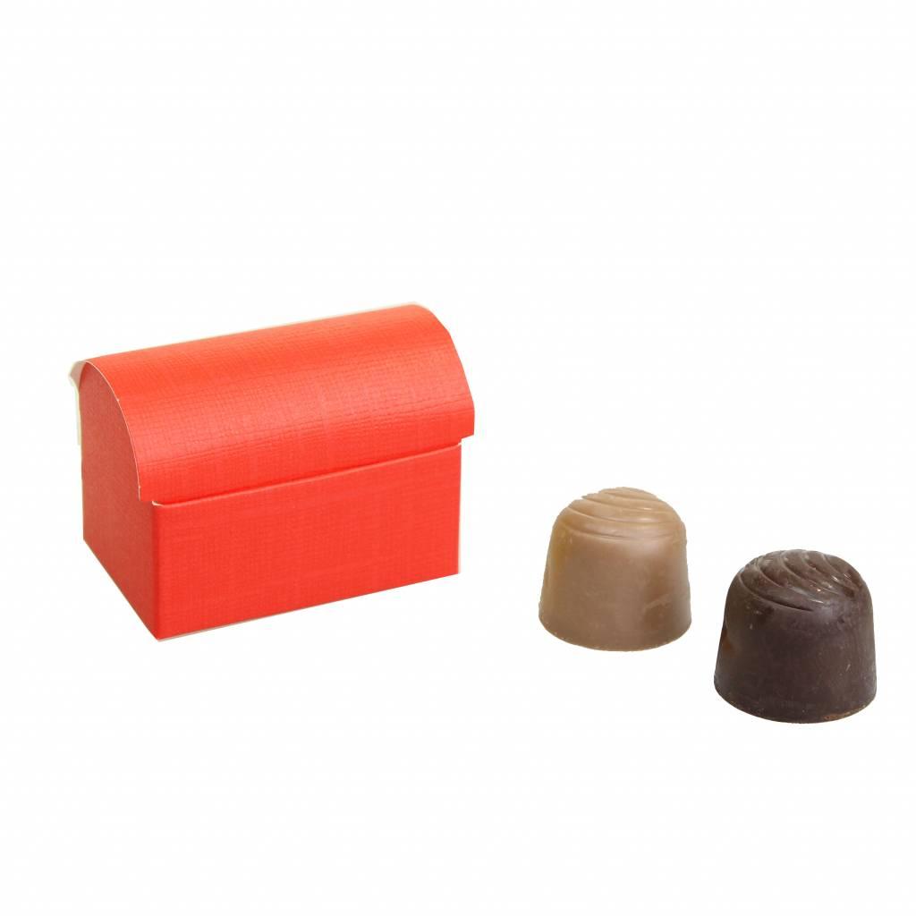 Mini schatkistje voor 2 bonbons  reliëf - Rood - 70 * 45 * 50mm - 200 stuks