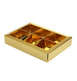 Gold window box with interior for 6 chocolates