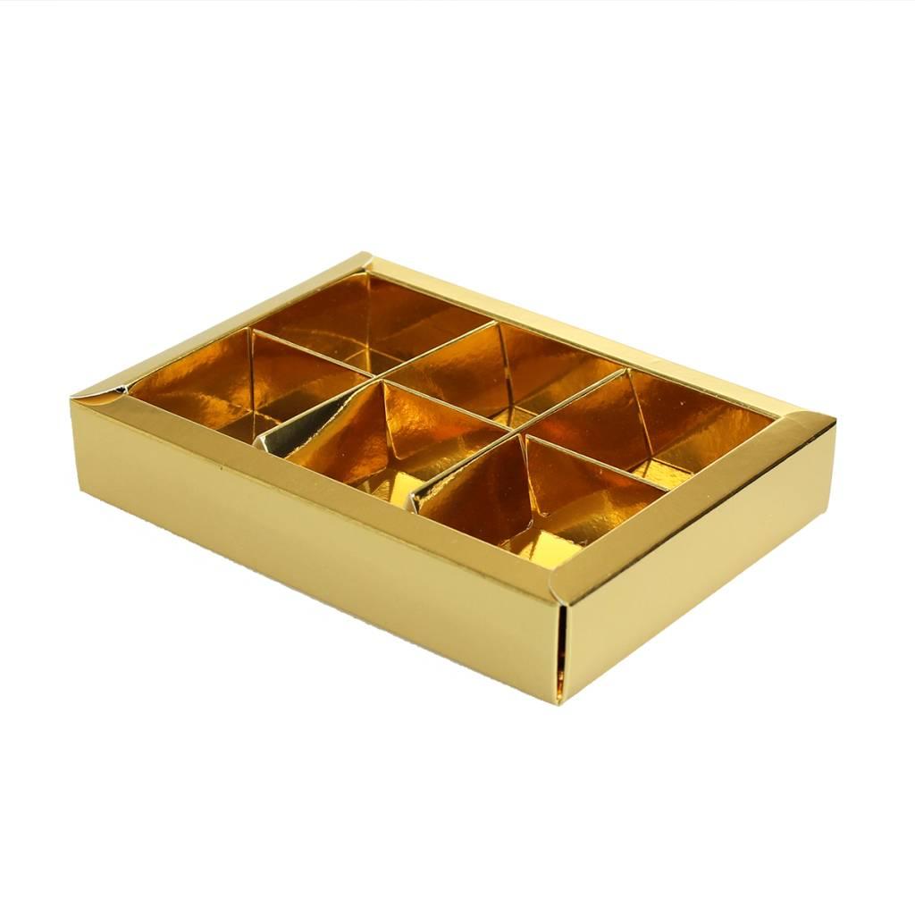 Boîte or avec interiéur pour 6 pralines - 130*90*30mm - 35 pièces