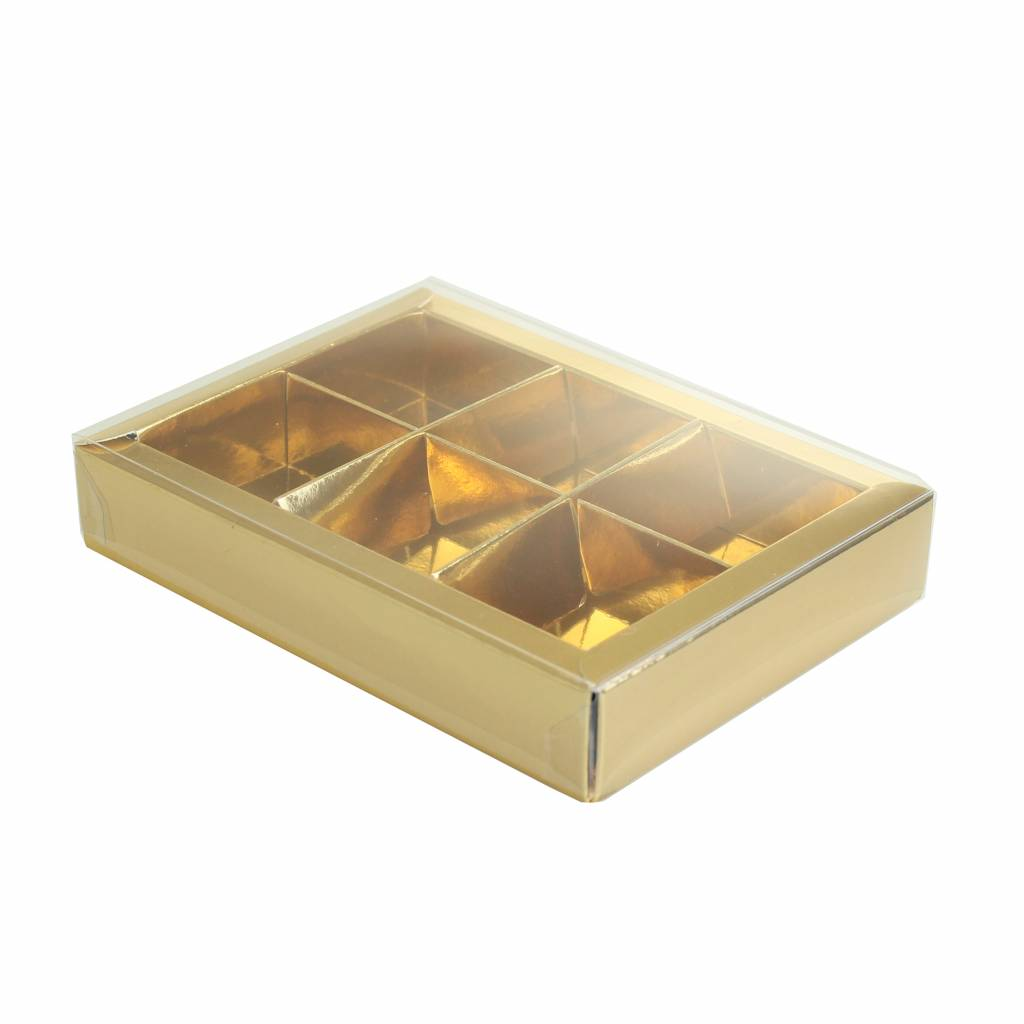 Gold window box with interior for 6 chocolates - 130*90*30mm - 35 pieces