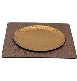 Lederlook schalen  rond/vierkant - goud/bruin
