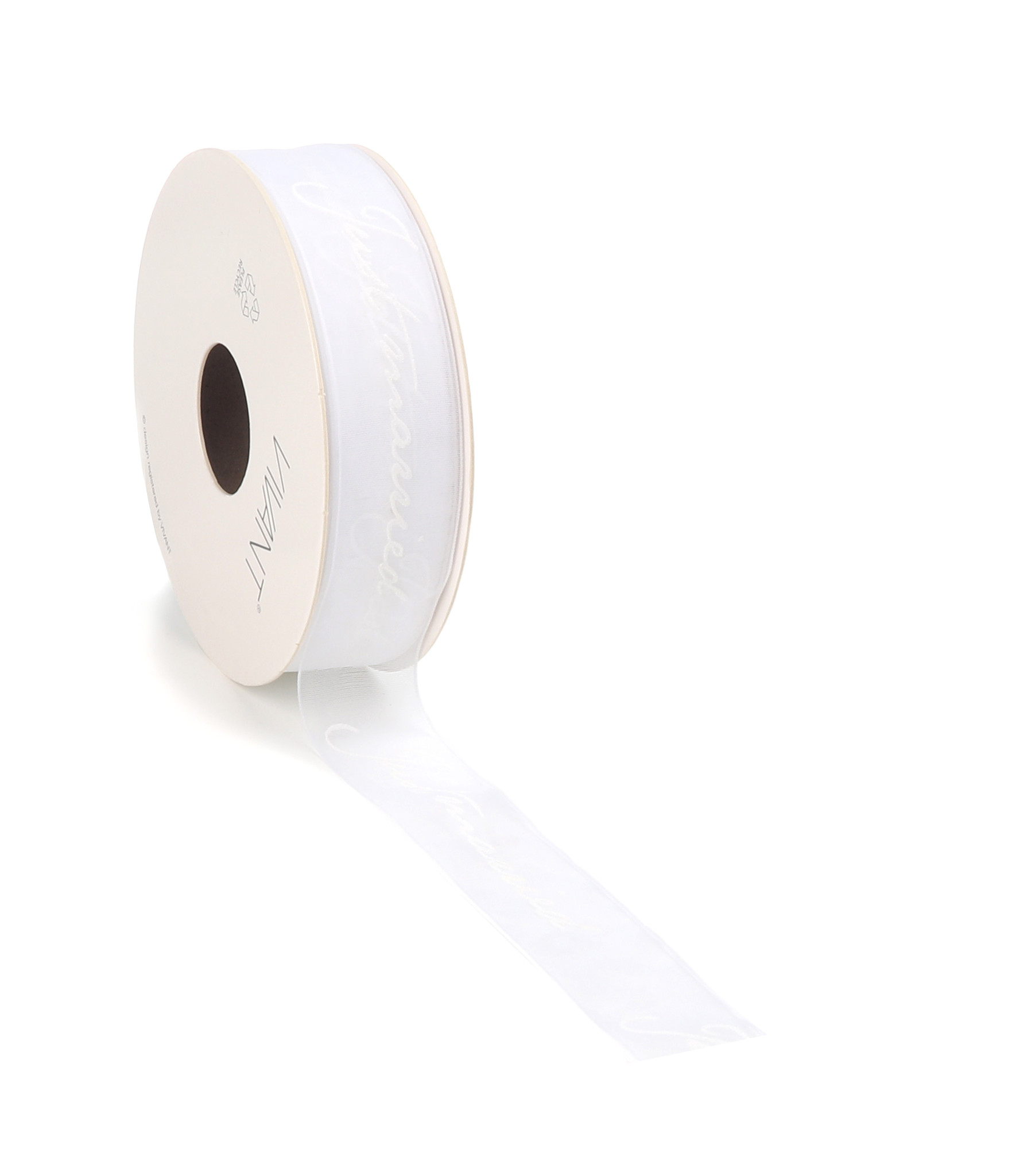 Just Married woven edge Ribbon - white