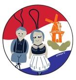 Ronde Hollandse gelukspoppetjes sticker 5 cm