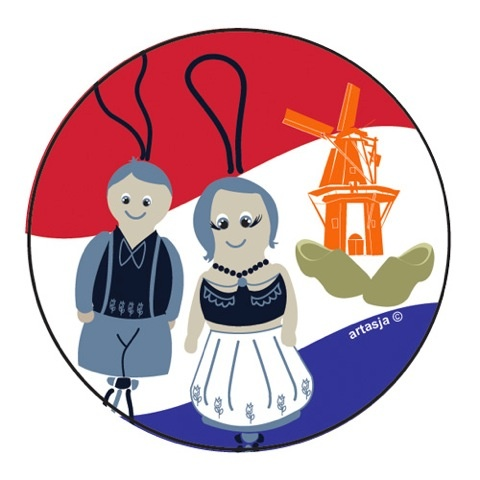 Round sticker Dutch lucky dolls 5 cm