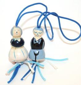 Pendentif agriculteur et femme d'agriculteur  Néerlandais - bleu