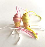 Gelukshangertje Ijsjes - roze/geel -20mm - 50 stuks