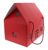 "Haus ""Lino Rosso"" mit  Kordel - Rot - 330 * 250 *340  mm - 2 Stück"
