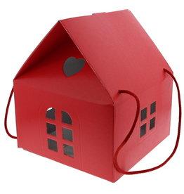 "Haus ""Lino Rosso"" mit  Kordel - Rot"