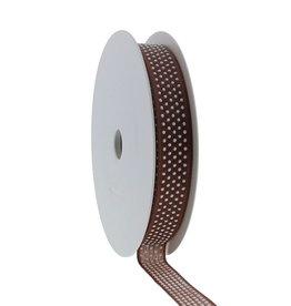 """""""Puff Dotty""""  wired ribbon  - dark brown"""