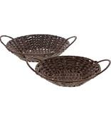 Wicker bowl - dark brown  - set of 2/ 5 pieces