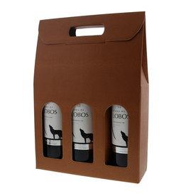 Doos voor  3 flessen - Terra cotta