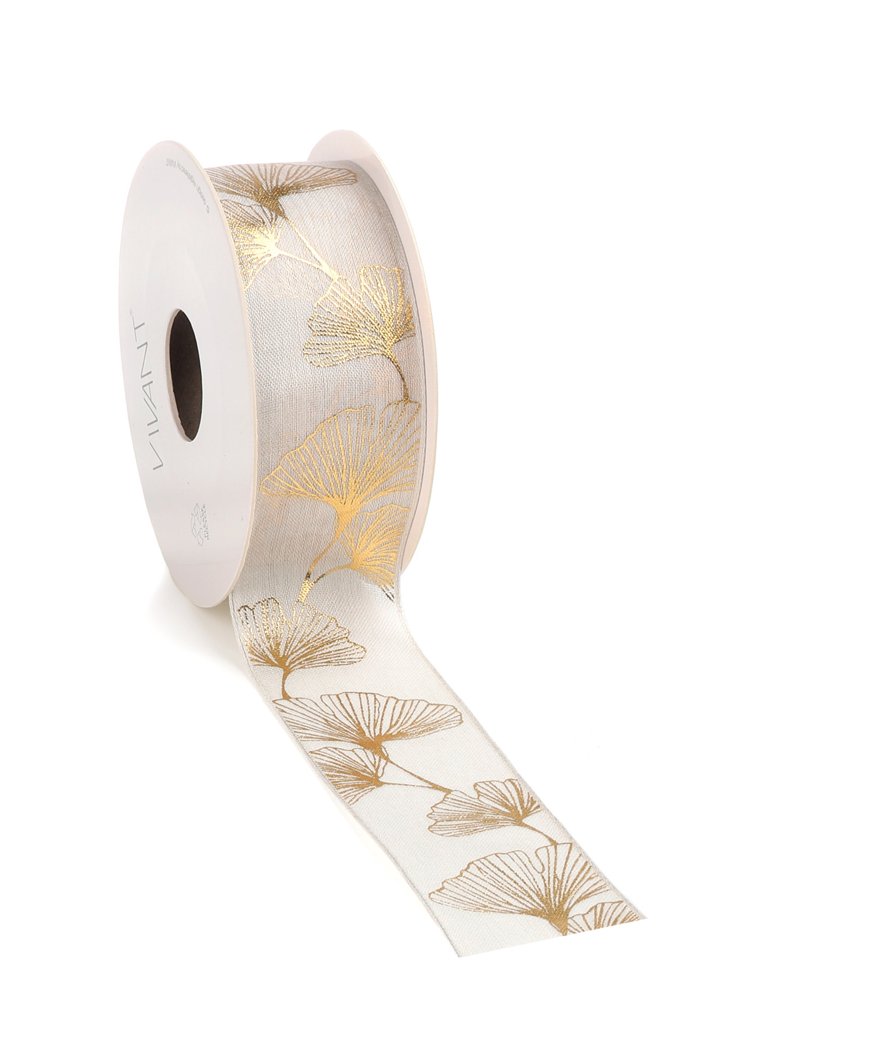 Ginkgo ribbon - cream - 38mm - 10m