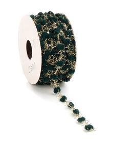 Sprinkle Dots wired ribbon - dark green