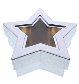 Star box with clear window silver