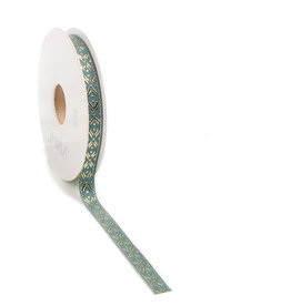 Crystalline woven edge Ribbon - Sea Blue