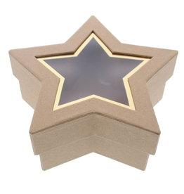 Caja de estrellas con ventana transparente  kraft