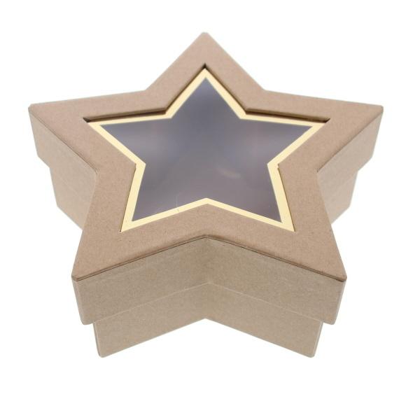 Sternenbox mit Fenster Kraft - 185 *185 * 75 mm - 6 Stück