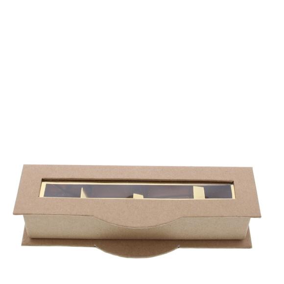 Boite à fenêtre transparente 4 pralines kraft - 55 * 170 *40 mm - 20 pièces
