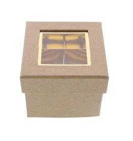 Clear Window Cube box kraft 2 layers