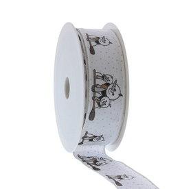 "Snowman ""Broomy"" wired ribbon"