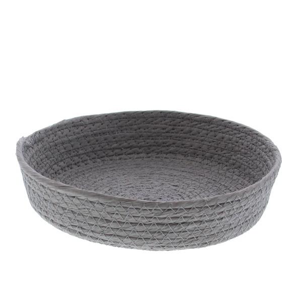 Ronde papier touw  mand - Grijs  - 10 stuks