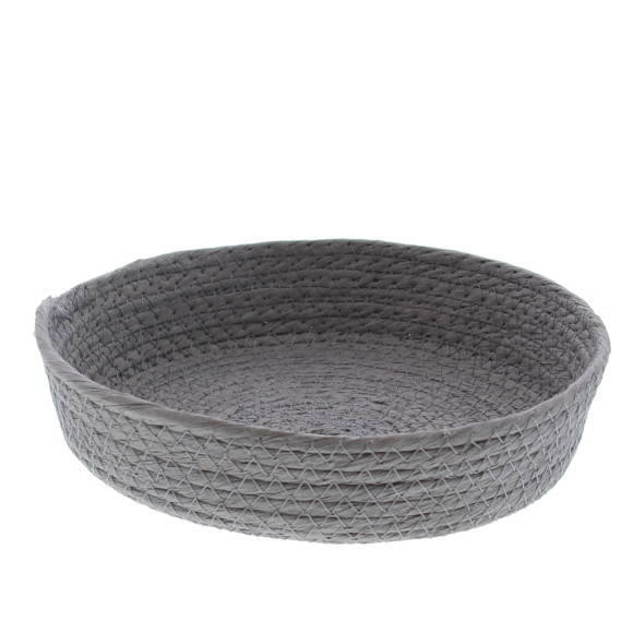 Round Paper rope basket - grey  - 10 pieces