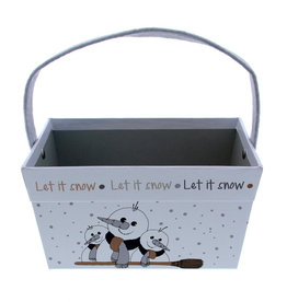 "Snowman ""Broomy""  Basket with rectangular handle"