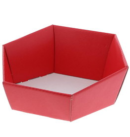 Hexagonal box Lino rosso