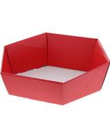 Zeshoekig bakje Lino rosso - Rood - 10 stuks