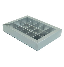 Silver window box with interior for 15 chocolates