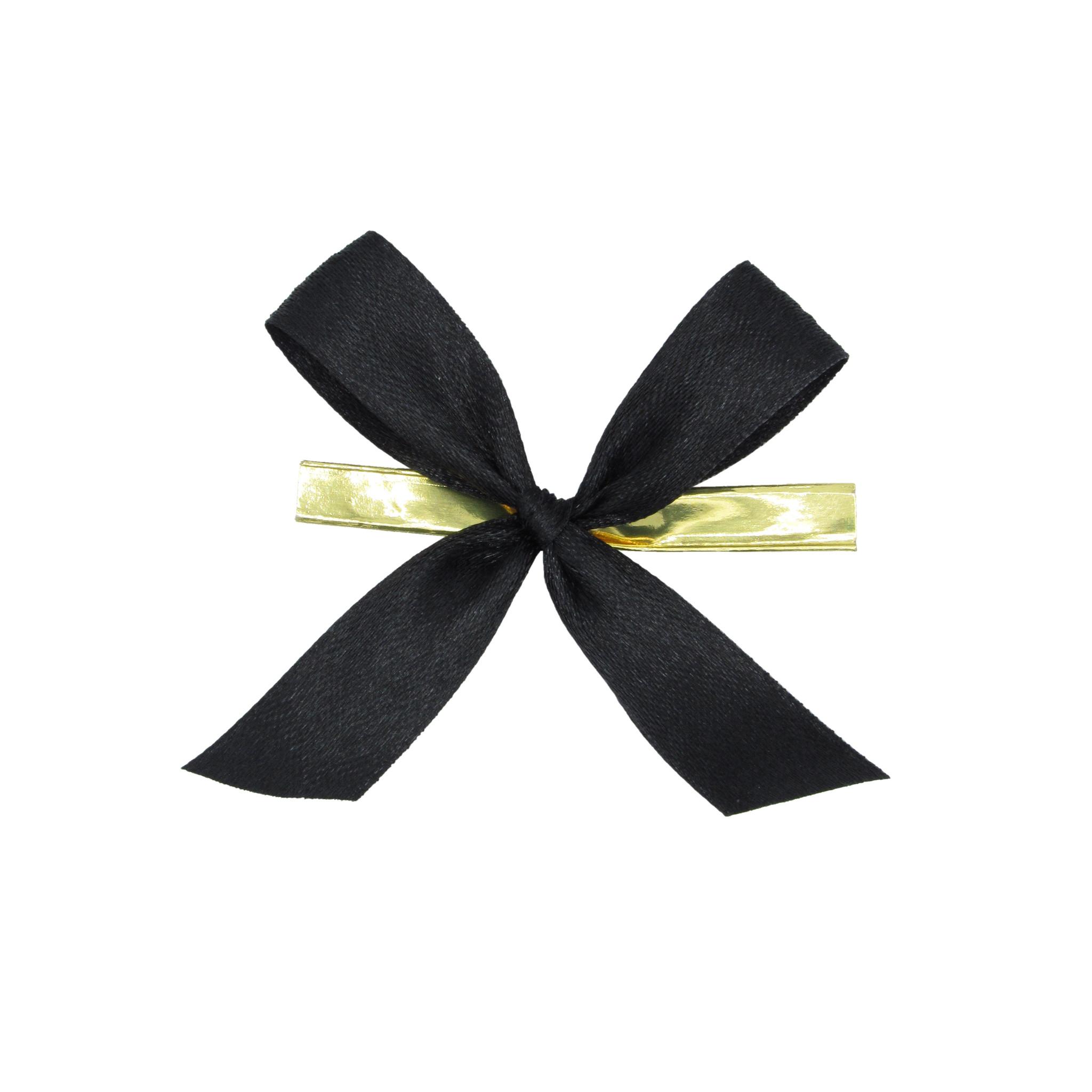 Cinta lazo de raso con clip - negro
