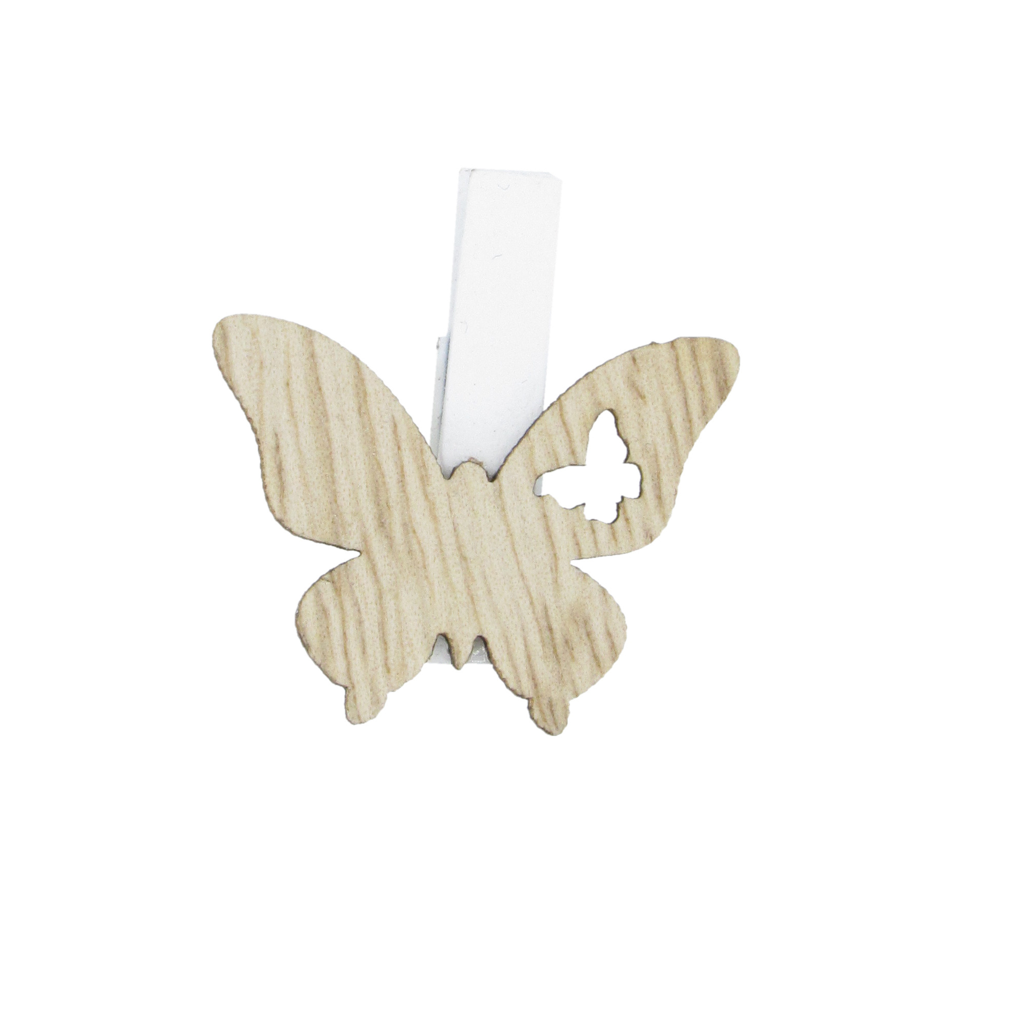 """""""Butterfly"""" clip - natural - 30*38mm - 36 pieces"""