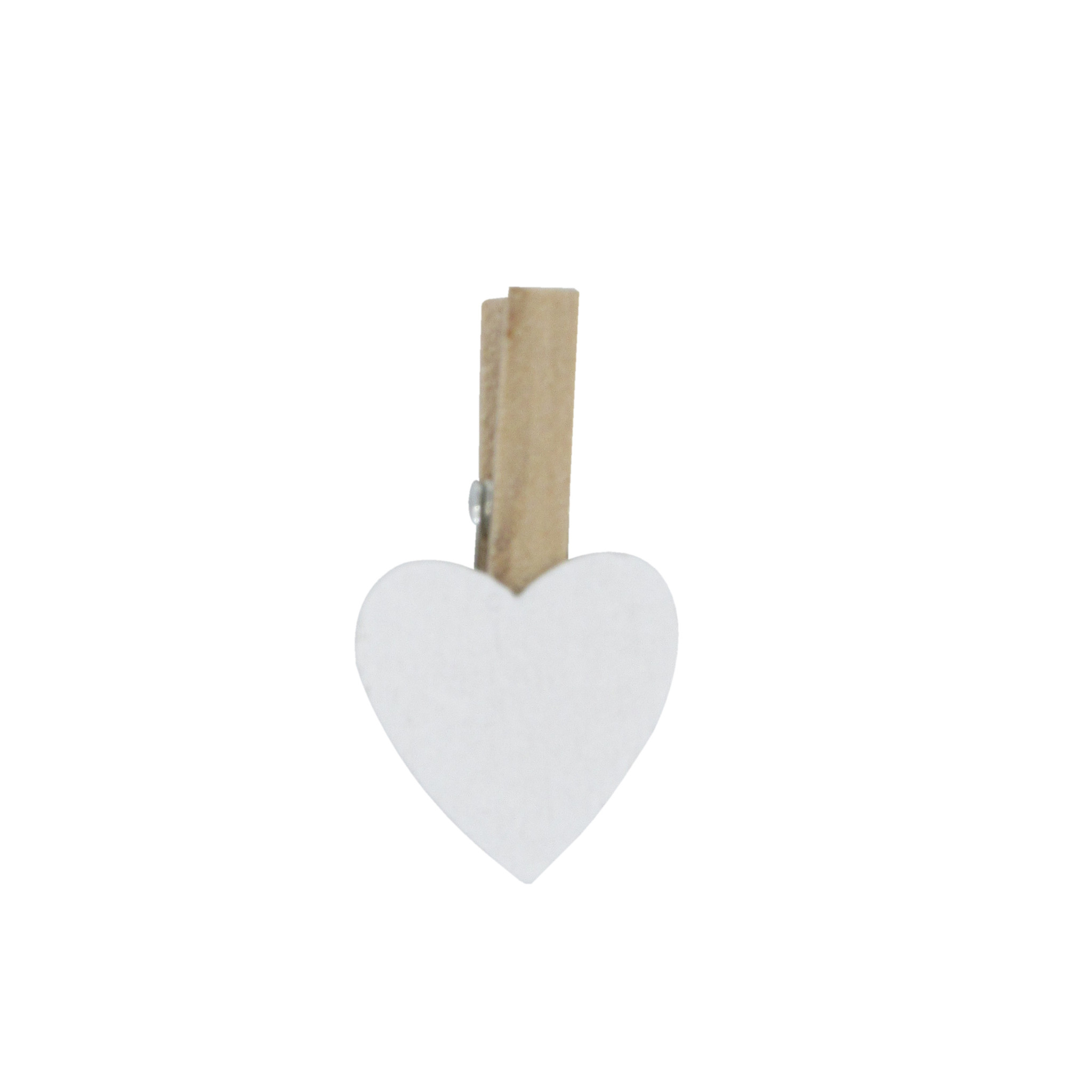 """Wooden clip """"Small Heart"""" - White - 18*18mm - 36 pieces"""