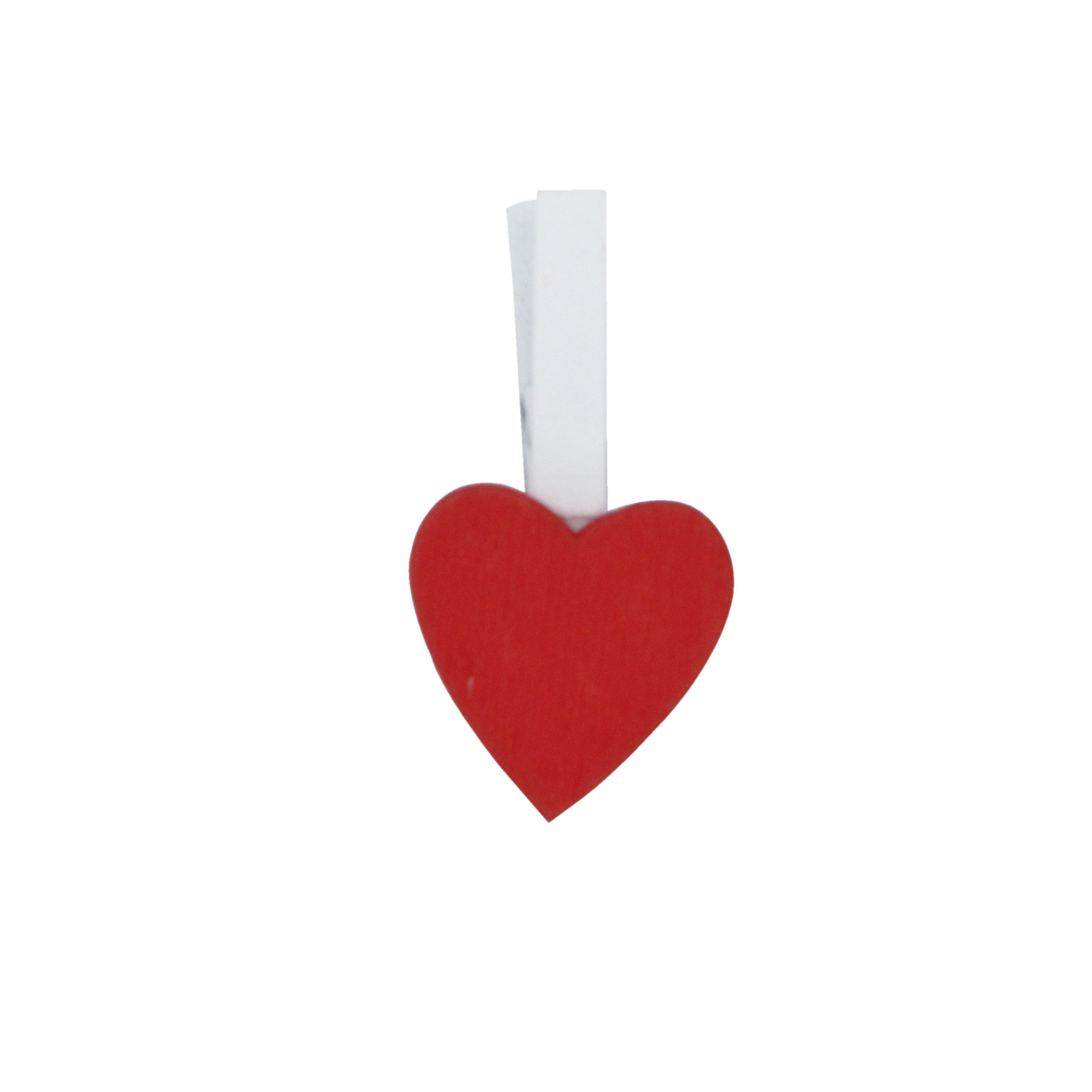 """Wooden clip """"Small Heart"""" - Red - 18*18mm - 36 pieces"""