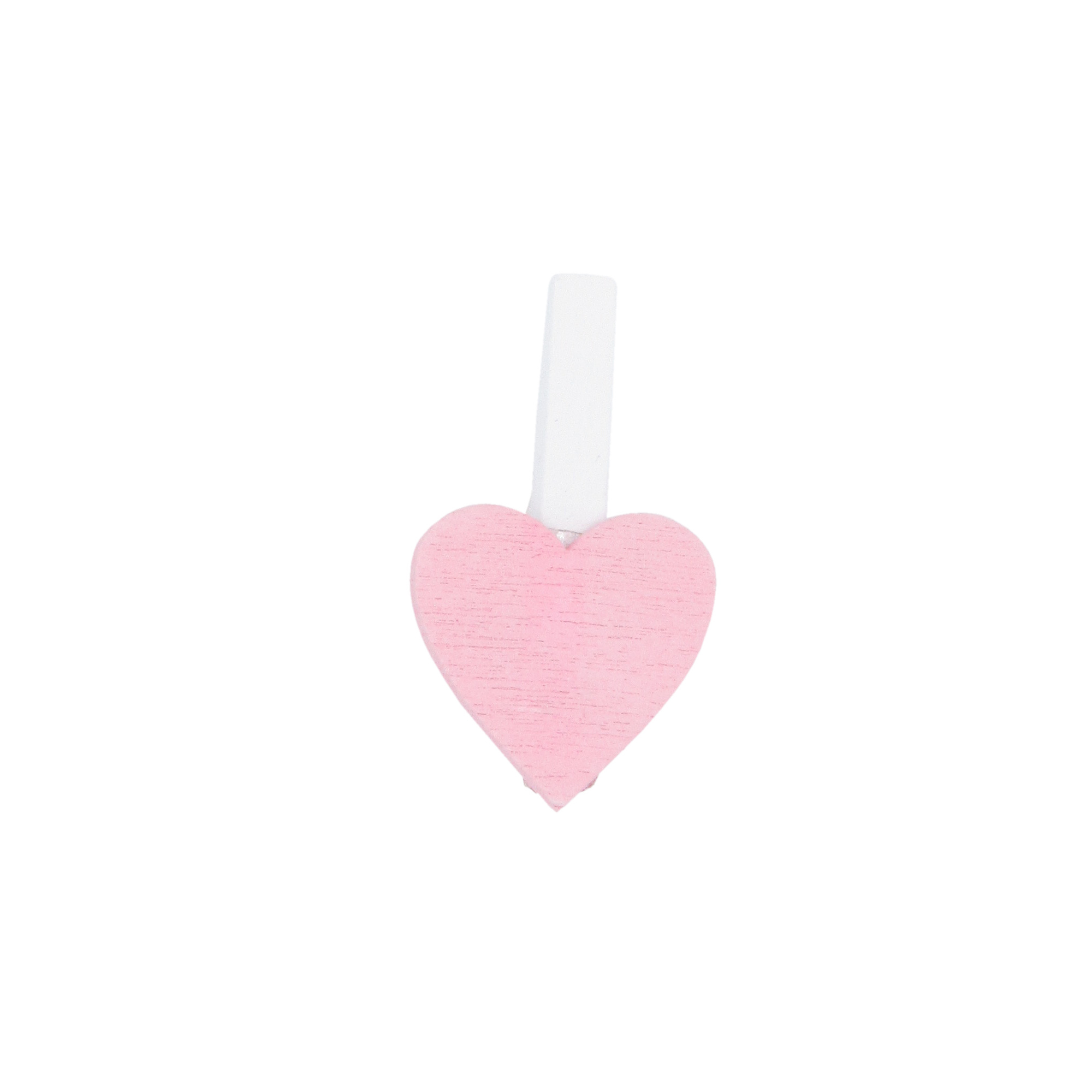 "Wooden clip ""Small Heart"" - light pink - 18*18mm - 36 pieces"
