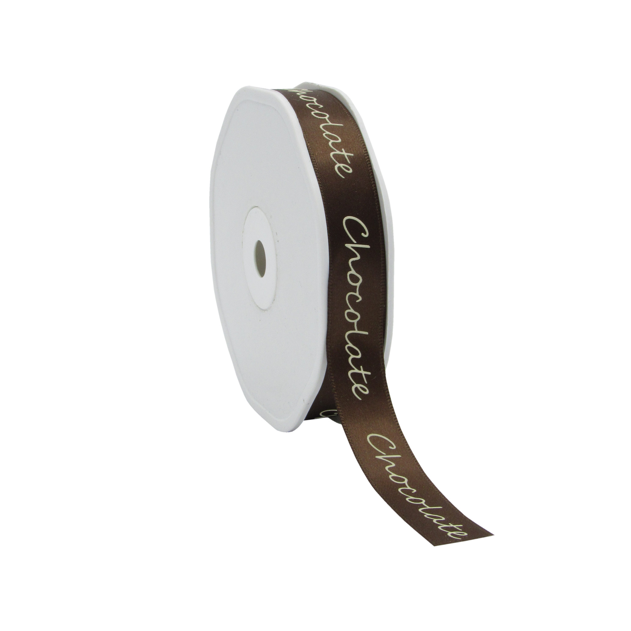 "Single face satin ribbon ""Chocolate"" - chocolate brown - 15 mm - 25 m"