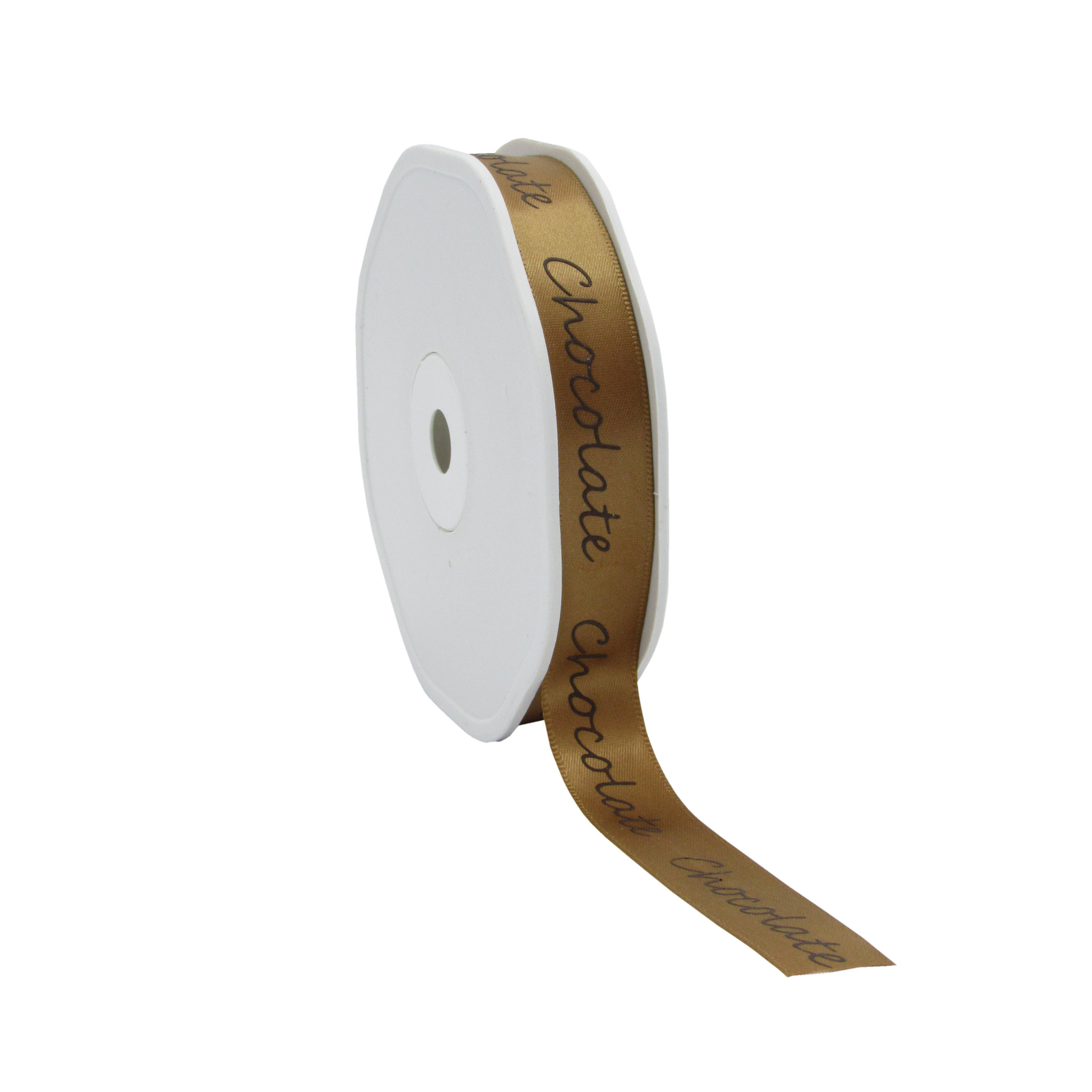 "Single face satin ribbon ""Chocolate"" - sand - 15 mm - 25 m"