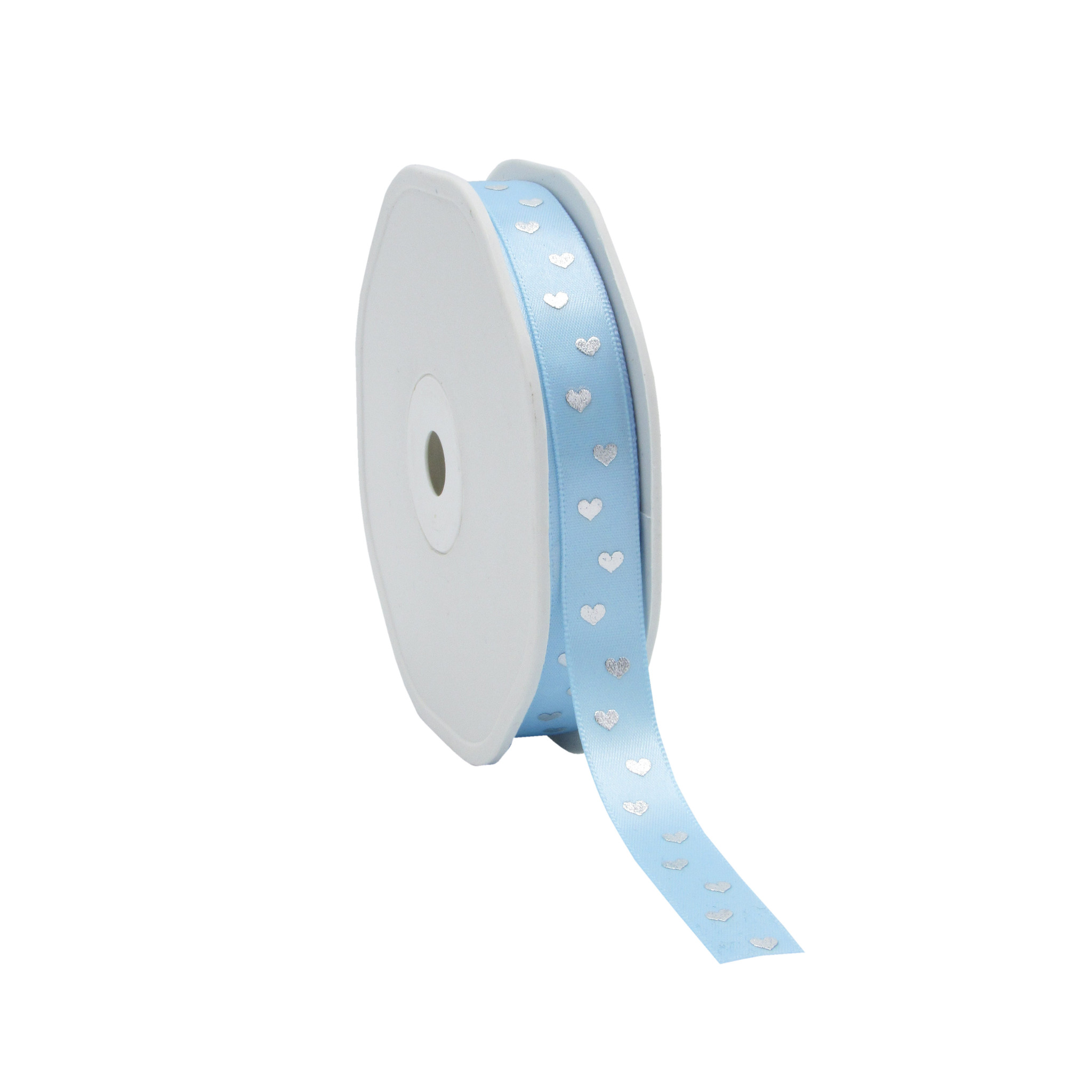 Single face satin ribbon Sweet Hearts - light blue - 12 mm - 25 m