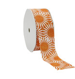 """Spring Flowers"" Ribbon - Orange  - 38 mm - 15m"