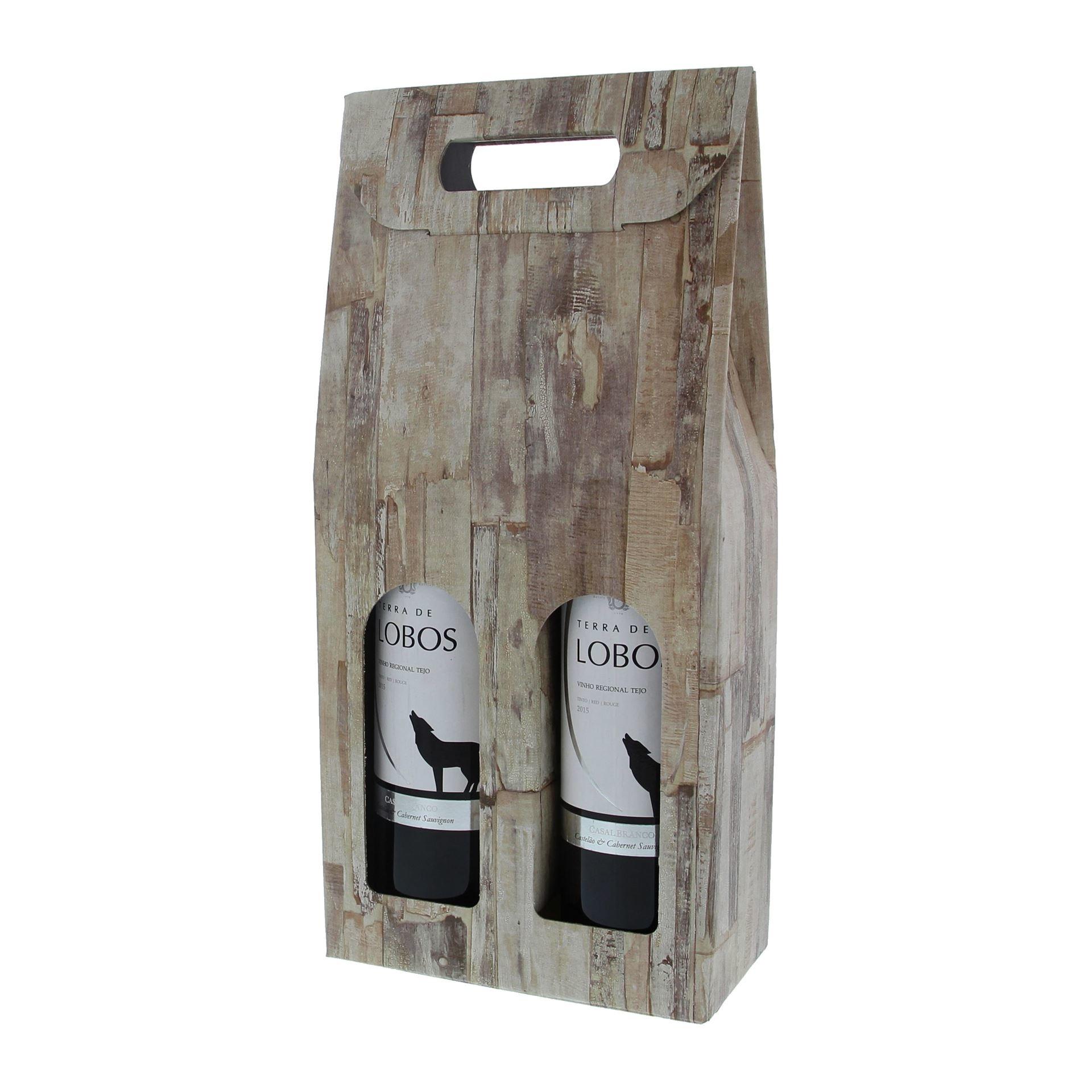 """Schachtel für 2 flaschen  """" Wood"""" -  10 Stück"""