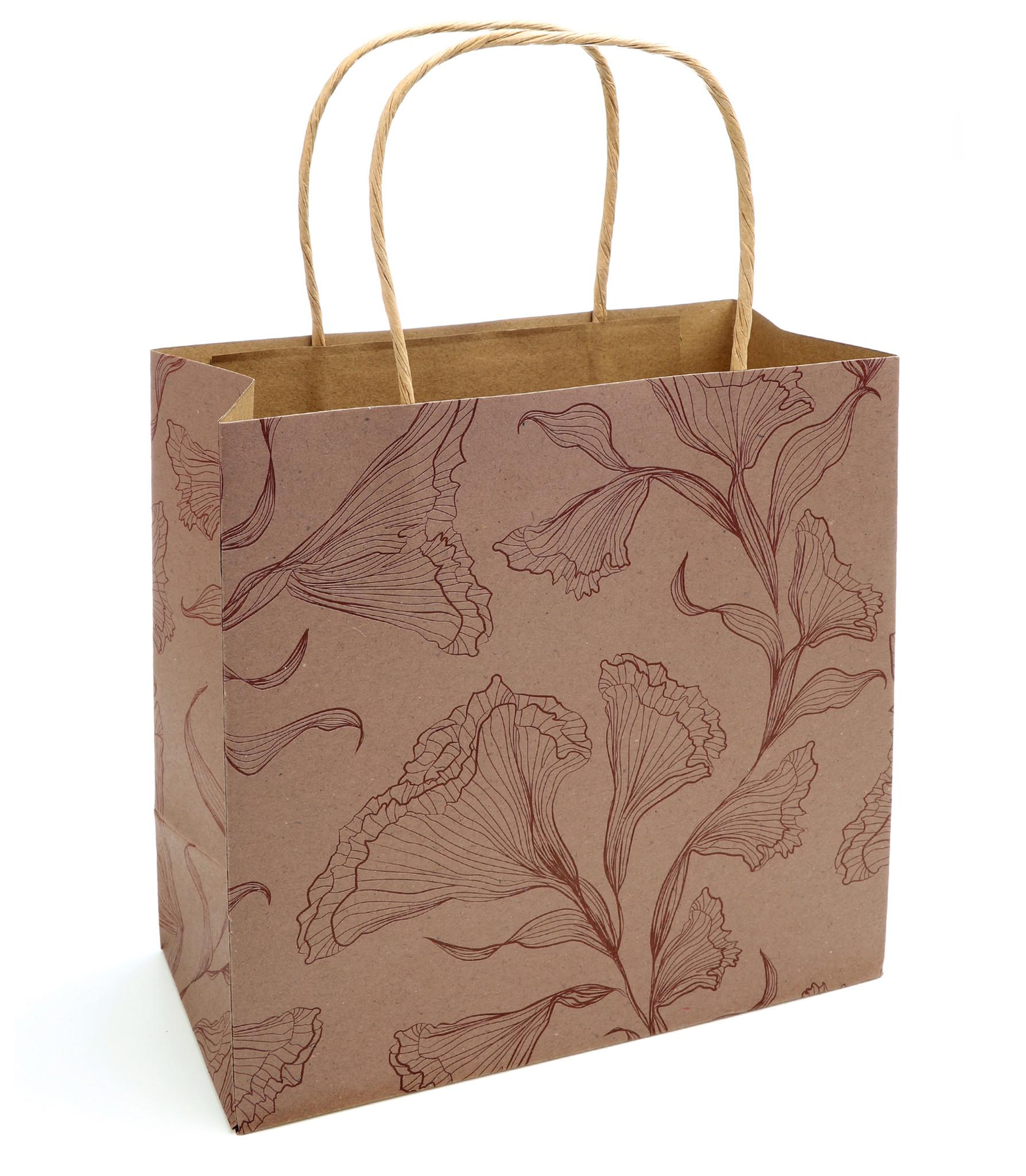 Floralice Papiertasche - Marble Rose - 5 Stück