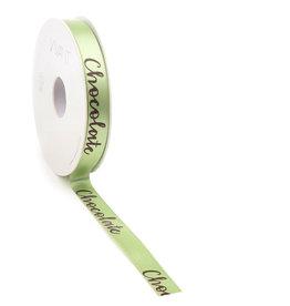 Chocolate woven edge Ribbon - light green