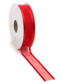 Prego woven edge Ribbon - red